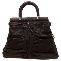 Dior Dark Brown Leather Karenina Hermitage Satchel
