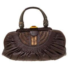 Dior Dark Brown Pleated Leather Medium Plisse Frame Bag