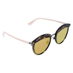 Dior Havana Brown/ Gold Mirrored DiorOffset1 Round Sunglasses
