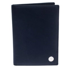 Dior Homme Navy Blue Pebbled Leather Passport Cover
