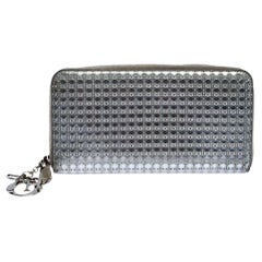 Dior Metallic Silver Cannage Patent Leather Zip Around Wallet