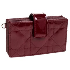 Dior Red Quilted Patent Leather Lady Dior Gusset Card Case