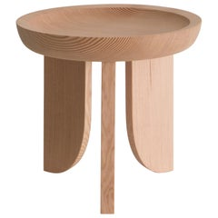Dish Solid Wood Sculptural Carved Side Table Douglas Fir Limited Edition