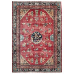 Distressed Mid-20th Century Chinese Inspired Handmade Turkish Room Size Carpet
