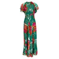 Documented 1973 Scott Barrie Pink & Green Floral Backless Silk Chiffon Dress