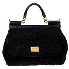 Dolce and Gabbana Black Lace Medium Miss Sicily Top Handle Bag