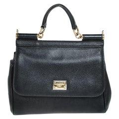 Dolce and Gabbana Black Leather Medium Miss Sicily Top Handle Bag