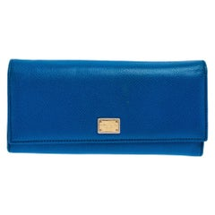 Dolce and Gabbana Blue Leather Dauphine Continental Wallet