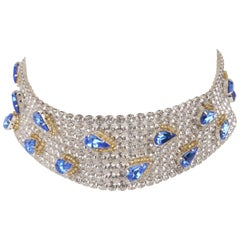 Dolce and Gabbana Blue Rhinestone Drop Swarovski Choker