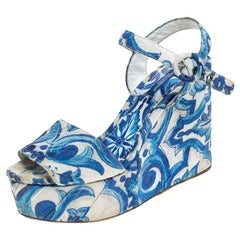 Dolce and Gabbana Blue/White Majolica Print Canvas Ankle Strap  Size 38.5