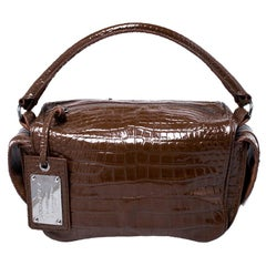 Dolce and Gabbana Brown Croc Embossed Leather Miss Double Top Handle Bag