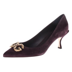 Dolce and Gabbana Burgundy Suede DG Amore Pointed Toe Pumps Size 38.5