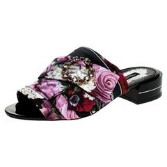 Dolce and Gabbana Multicolor Floral Crystal Bow Open Toe Flat Mules Size  36