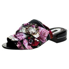 Dolce and Gabbana Multicolor Floral Crystal Bow Open Toe Flat Mules Size 40
