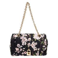 Dolce and Gabbana Multicolor Floral Print Fabric Flap Padlock Shoulder Bag