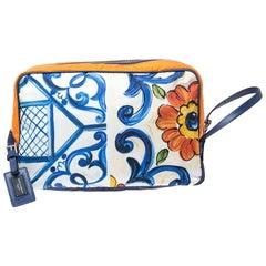 Dolce and Gabbana Multicolor Printed Nylon Wash Bag