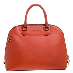 Dolce and Gabbana Orange/Pink Leather Small Megan Dome Satchel