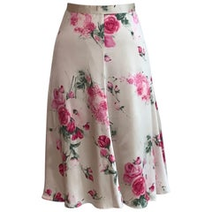 Dolce and Gabbana Rose Floral Print Silk Skirt Pink and Cream White