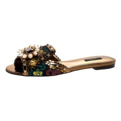 Dolce and Gabbana Trim Faux Pearl Embellished Flat Slides Size 37