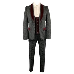 DOLCE & GABBANA 40 Black Brocade & Burgundy Velvet 3 Piece Suit