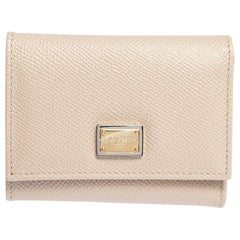 Dolce & Gabbana Beige Leather Trifold Wallet