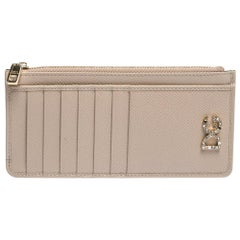 Dolce & Gabbana Beige Leather Zipped Card Holder