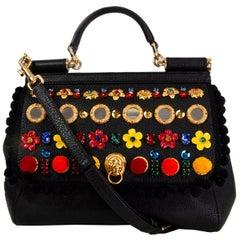 DOLCE & GABBANA black leather EMBELLISHED SICILY MEDIUM Shoulder Bag