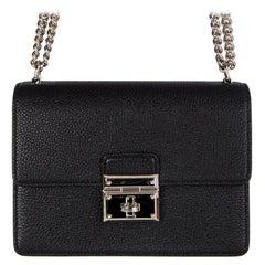 DOLCE & GABBANA black leather ROSALIA Flap Shoulder Bag