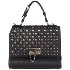 DOLCE & GABBANA black leather STUDDED MONICA MEDIUM Bag