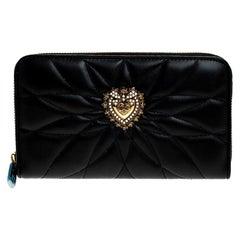 Dolce & Gabbana Black Matelasse Leather Devotion Zip Around Wallet