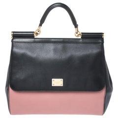 Dolce & Gabbana Black/Pink Leather Miss Sicily Top Handle Bag
