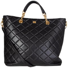DOLCE & GABBANA black quilted leather MISS KATE Tote Bag