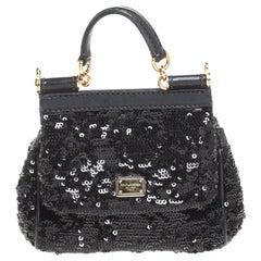 Dolce & Gabbana Black Sequin Mini Miss Sicily Top Handle Bag