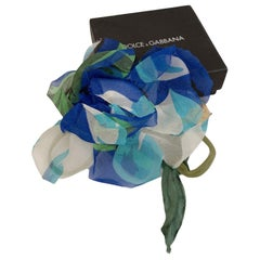 Dolce & Gabbana Blue Chiffon Silk Flower Brooch Pin
