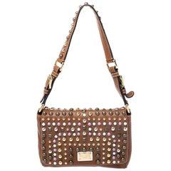 Dolce & Gabbana Brown Leather Studded Shoulder Bag