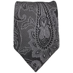 DOLCE & GABBANA Charcoal Ombre Paisely Silk Tie