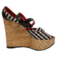 Dolce & Gabbana Checkered Open Toes Wedge Sandals Size 38