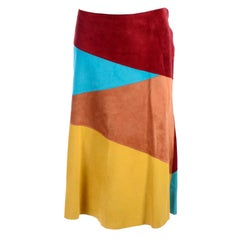 Dolce & Gabbana Color Block Suede Skirt in Burgundy Blue Tan & Yellow