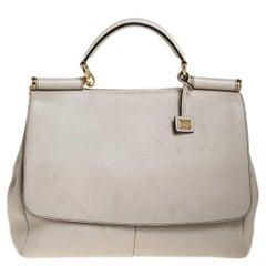 Dolce & Gabbana Cream Leather Flap Top Handle Bag
