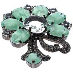 Dolce & Gabbana Green Floral Crystal Silver Tone Brooch