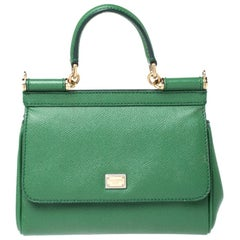Dolce & Gabbana Green Leather Small Miss Sicily Top Handle Bag