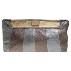 Dolce & Gabbana Metallic Tricolor Leather Clutch