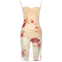 Dolce & Gabbana nude floral printed silk dress with corseted bodysuit, fw 1996
