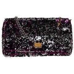 Dolce & Gabbana Purple/Silver Sequin Miss Charles Shoulder Bag