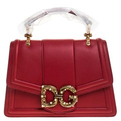Dolce & Gabbana Red Leather DG Amore Top Handle Bag