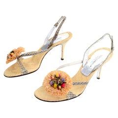 Dolce & Gabbana Shoes Raffia & Fruit Snakeskin Slingback Sandals Heels 37.5