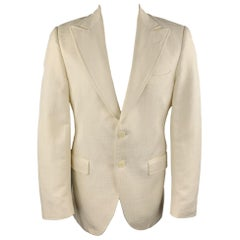 DOLCE & GABBANA Size 40 Cream Textured Cotton / Silk Peak Lapel Sport Coat