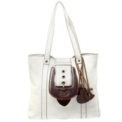 Dolce & Gabbana White/Buckle Leather Buckle Tote