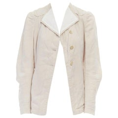 DRIES VAN NOTEN cream floral jacquard spread collar pleated sleeve jacket FR36 S