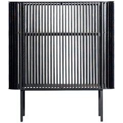Dry Bar in Blackened Laser-Cut Steel Frame with Black Oak Slats and Leather Top